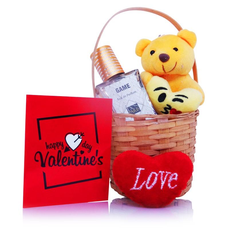 Valentines Perfume Teddy Basket Gift Set